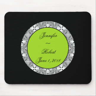 Damask Delight Lime Green Mousepad