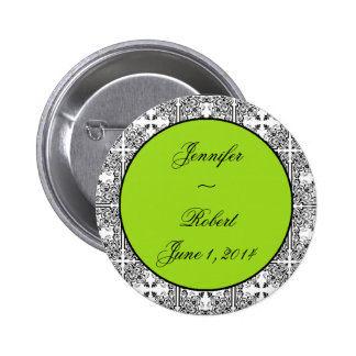 Damask Delight Lime Green Pinback Button