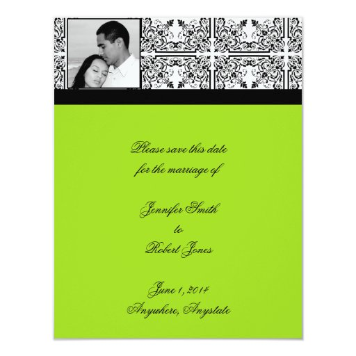 Damask Delight Lime Green Save the Date 4.25x5.5 Paper Invitation Card