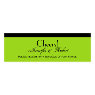 Damask Delight Lime Green Wedding Drink Ticket Double-Sided Mini Business Cards (Pack Of 20)