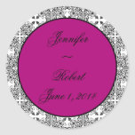Damask Delight New Berry Purple Envelope Seal Round Stickers
