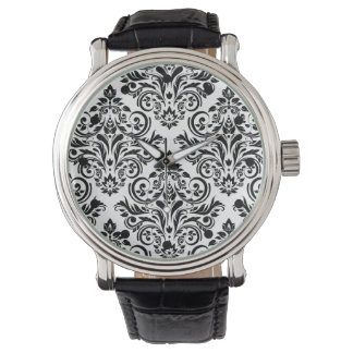 Damask Deluxe (black and white) Wrist Watches