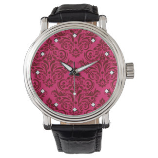 Damask Deluxe (hot pink burgundy) Wristwatches