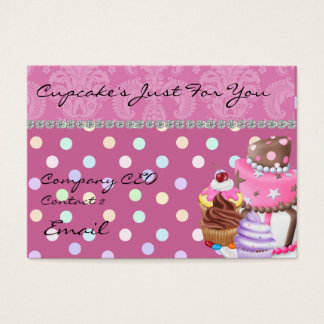 Damask Design CUPCAKE  Business Card BLING TOO