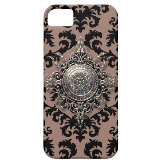 Damask Design, Filigree Medallion in Tan & Black iPhone SE/5/5s Case