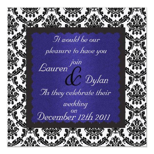 DAMASK DESIGN & ROYAL BLUE Wedding Invatation Card