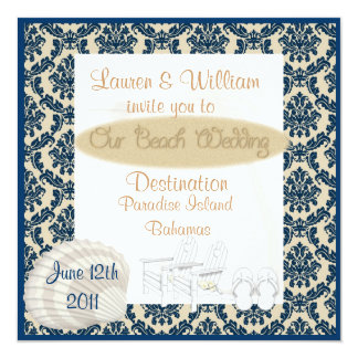 """DAMASK Destination Beach Wedding Invitation 5.25"""" Square Invitation Card"""