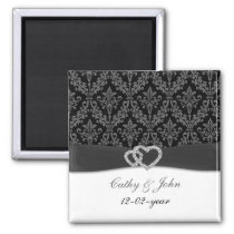 damask diamante charcoal save the date magnet