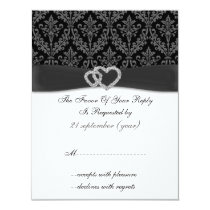 damask diamante charcoal wedding RSVP Card