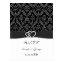 damask diamante charcoal wedding RSVP Postcard