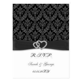 damask diamante charcoal wedding RSVP Postcard
