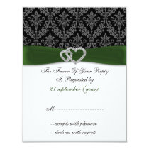 damask diamante green wedding RSVP Card