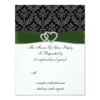 damask diamante green wedding RSVP Card