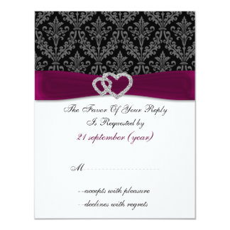 damask diamante pink wedding RSVP Card