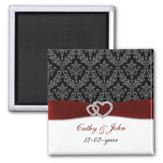 damask diamante red save the date 2 inch square magnet