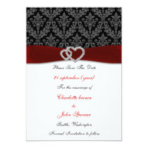 damask diamante red save the date card