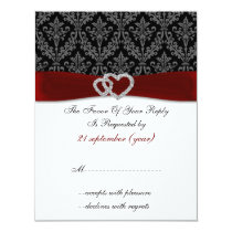 damask diamante red wedding RSVP Card