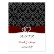 damask diamante red wedding RSVP Postcard