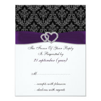 damask diamante violet wedding RSVP Card