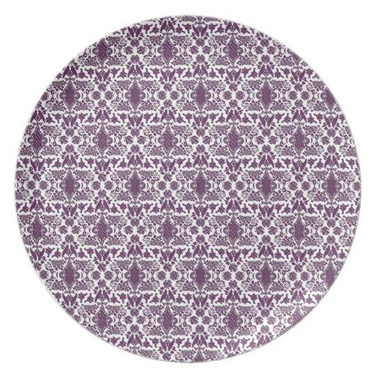 Damask Dinner plate - purple