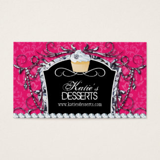 Damask Diva Cupcake Bakery Business Card