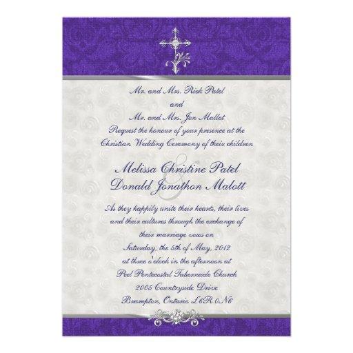 "Damask Double Ceremony Wedding Invitation 5"" X 7"" Invitation Card | Zazzle"