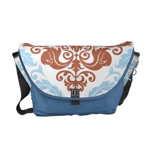Damask Duo - Messenger Bag - Blue & Red