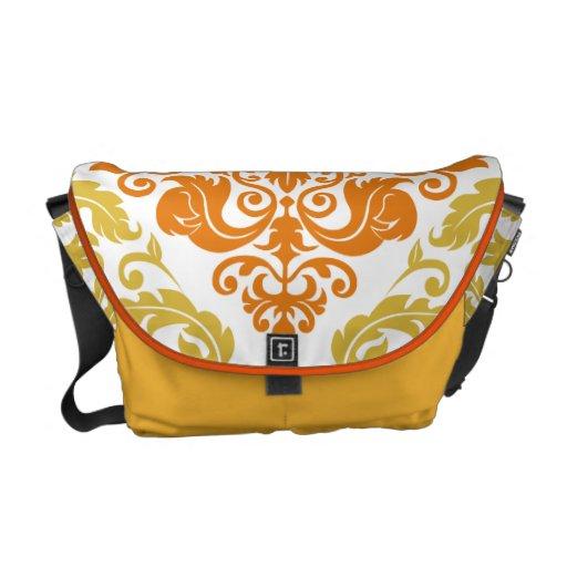 Damask Duo - Messenger Bag - Orange & Gold