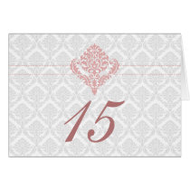 damask dusty rose pink table seating card