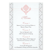damask dusty rose pink wedding menu card