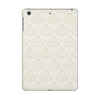 Damask Ecru Pattern on White Shell iPad Mini Cover