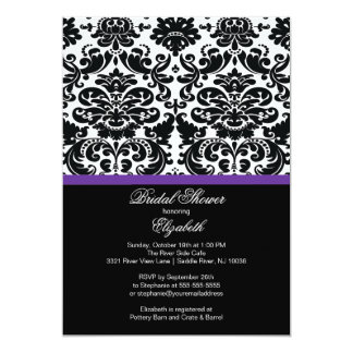Damask Eggplant Purple Bridal Shower Invitation