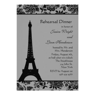 Damask Eiffel Tower Rehearsal Dinner Announcements