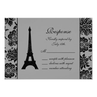 Damask Eiffel Tower RSVP 3.5x5 Paper Invitation Card