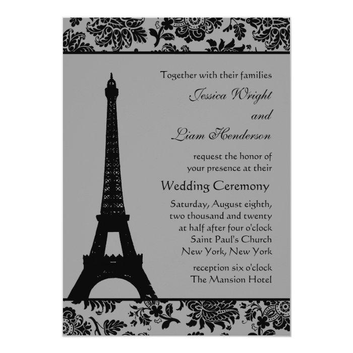 Eiffel Tower Wedding Invitations: Damask Eiffel Tower Wedding Invitation
