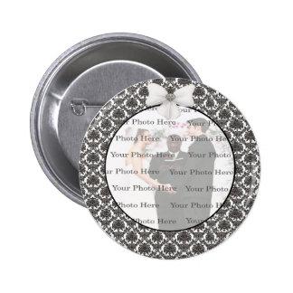 Damask Elegance Wedding Round Button