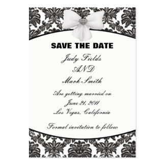 Damask Elegance Wedding Save The Date Cards Large Business Cards (Pack Of 100)