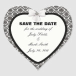 Damask Elegance Wedding Save The Date Stickers Heart Sticker