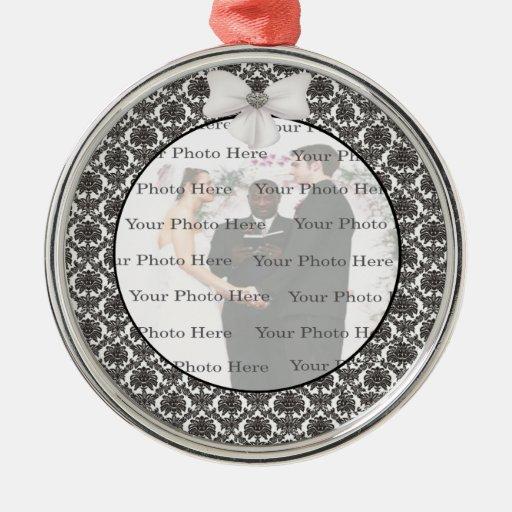 Damask Elegance Wedding Silver Round Ornament