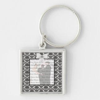 Damask Elegance Wedding Silver Square Key Chain