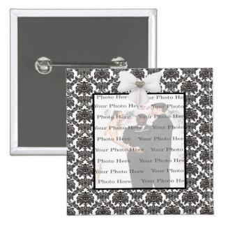 Damask Elegance Wedding Square Button