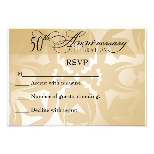 Damask elegant th anniversary rsvp card quot