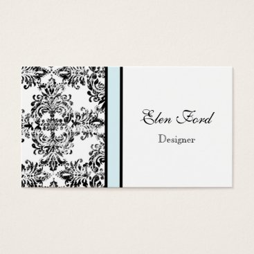 Professional Business Damask Elegant Baby Blue and Black Business Cards