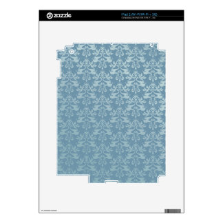Damask elephant blue vinyl iPad 3 skin