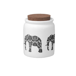 damask elephant cookie jar candy dishes