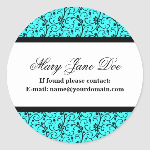 Damask Ex Libris Personalized Library Labels Classic Round Sticker