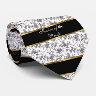 Damask, Father of the Bride, Black and Gold Neck Tie
