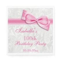 Damask & Faux Bow Girls 100th Birthday Napkin
