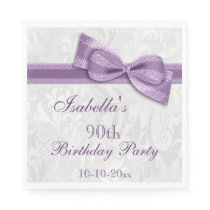Damask & Faux Bow Girls 90th Birthday Paper Napkin