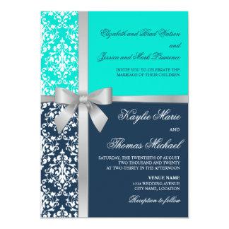 Damask Faux Silver Ribbon Navy Aqua Wedding 5x7 Paper Invitation Card